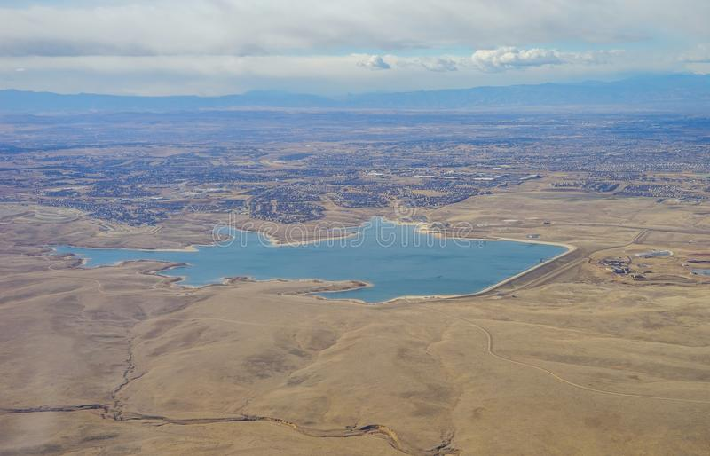 Aerial view of Aurora Reservoir. And country road of Denver in Colorado and the surrounding stock images