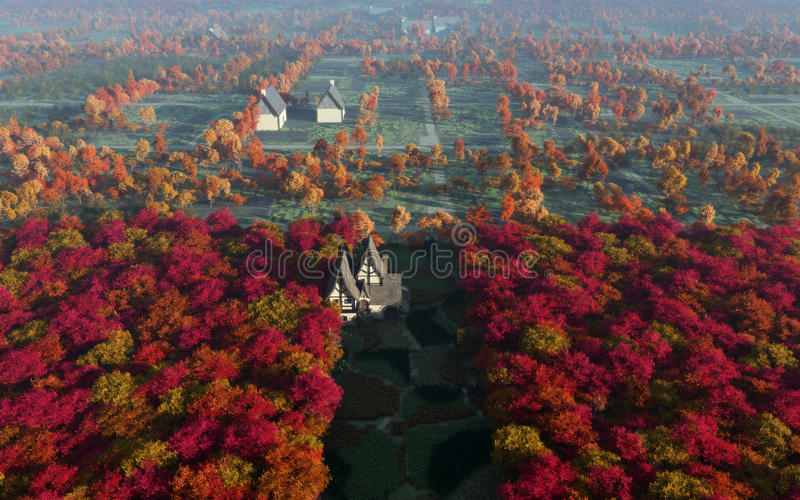 Aerial View Of Autumn Countryside Daytime Stock Illustration