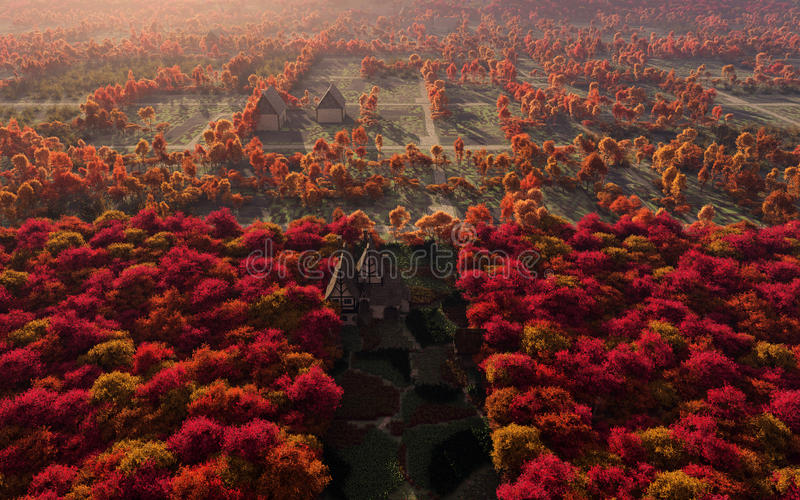 Download Aerial View Of Autumn Countryside Stock Illustration - Image: 38909538