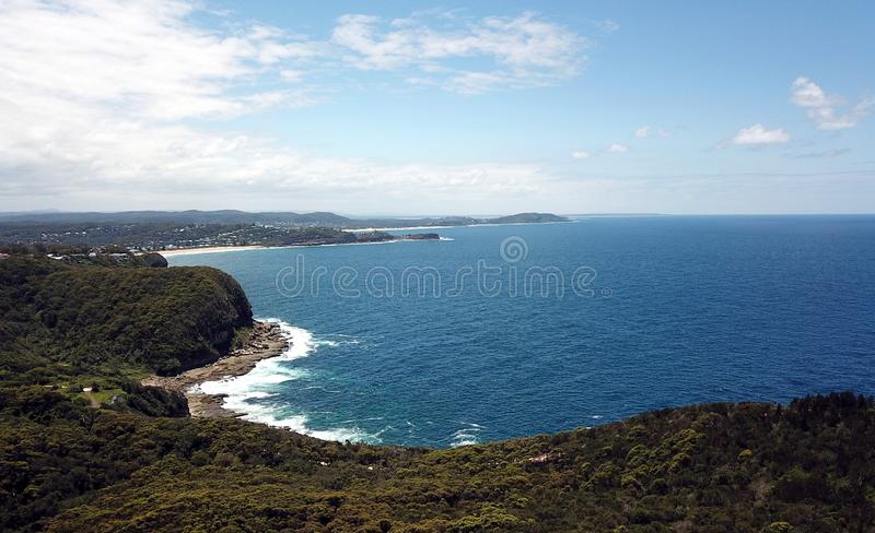Aerial view of Avoca Beach, Terrigal and Tasman sea. View from Captain Cook lookout Central Coast, NSW, Australia stock photo