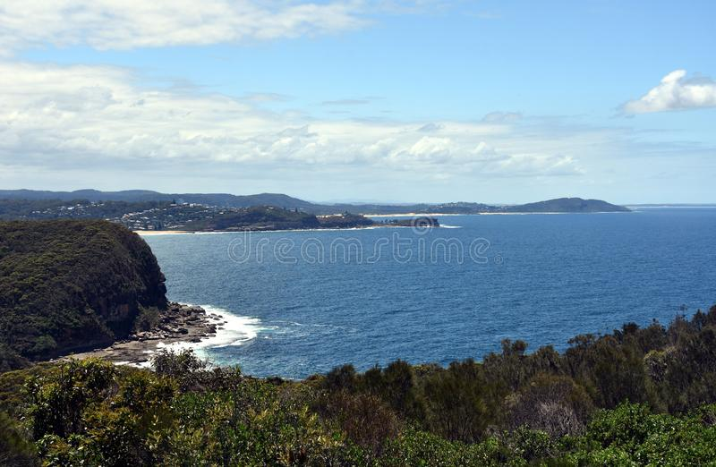 Aerial view of Avoca Beach, Terrigal and Tasman sea. View from Captain Cook lookout Central Coast, NSW, Australia royalty free stock photos