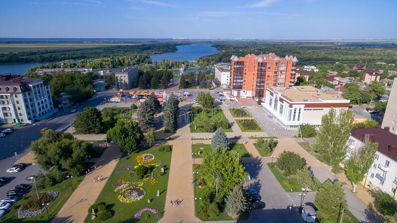 Aerial view on Azov city. Russia stock images