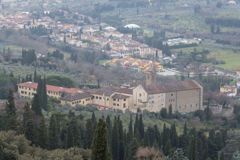 Aerial view of Badia Fiesolana Monastery in Fiesole, Tuscany, Italy stock photos