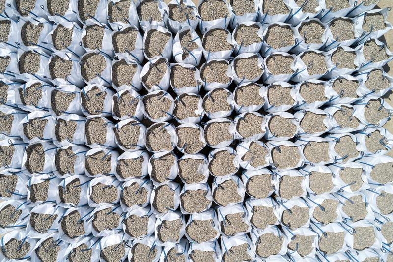 Bags full of stones. Aerial view on the bags full of stones in the stone mine royalty free stock photography