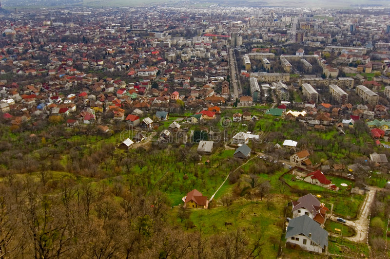 Aerial View of Baia Mare, Romania royalty free stock photos
