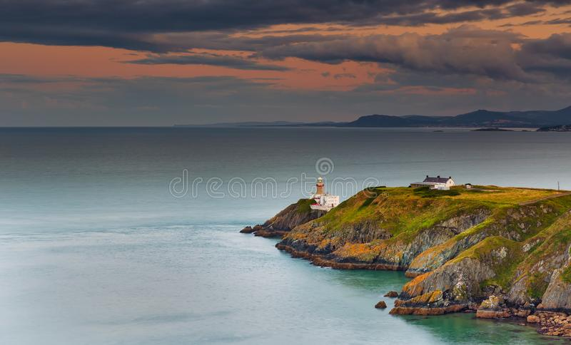 Aerial view. Baily lighthouse at sunrise. Howth. county Dublin. Ireland stock image