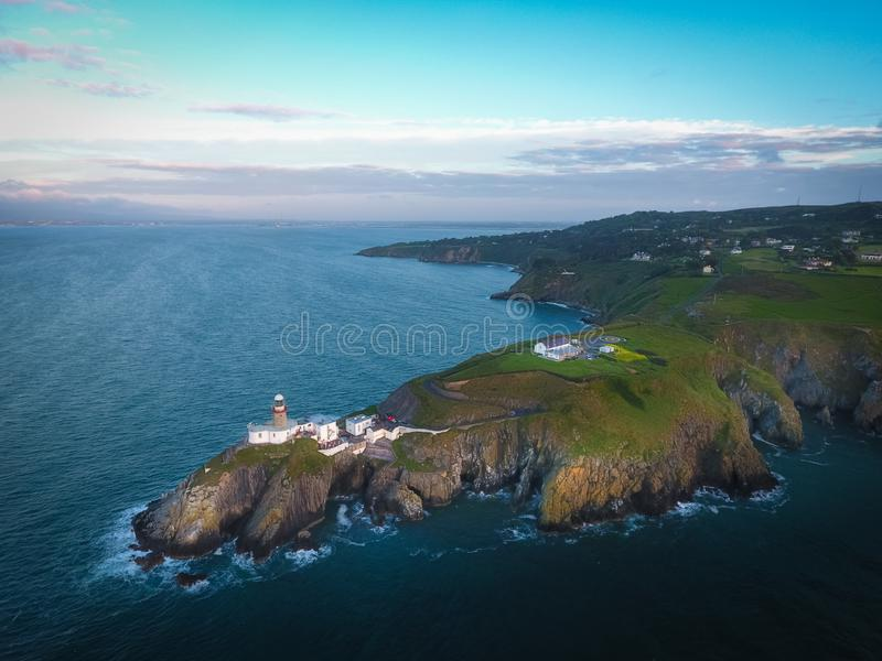 Baily lighthouse. Howth. co. Dublin. Ireland. Aerial view. Baily lighthouse at sunrise. Howth. county Dublin. Ireland royalty free stock photos