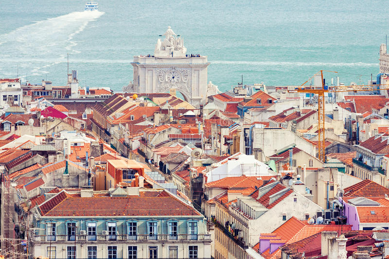 Aerial view of Baixa district in Lisbon royalty free stock photography