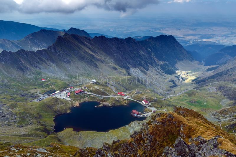 Aerial view of Balea Lake stock image