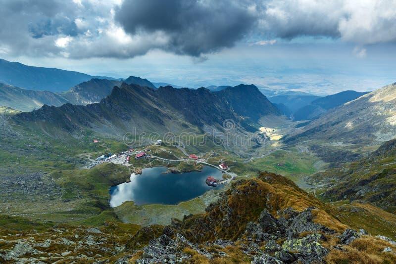 Aerial view of Balea Lake royalty free stock image