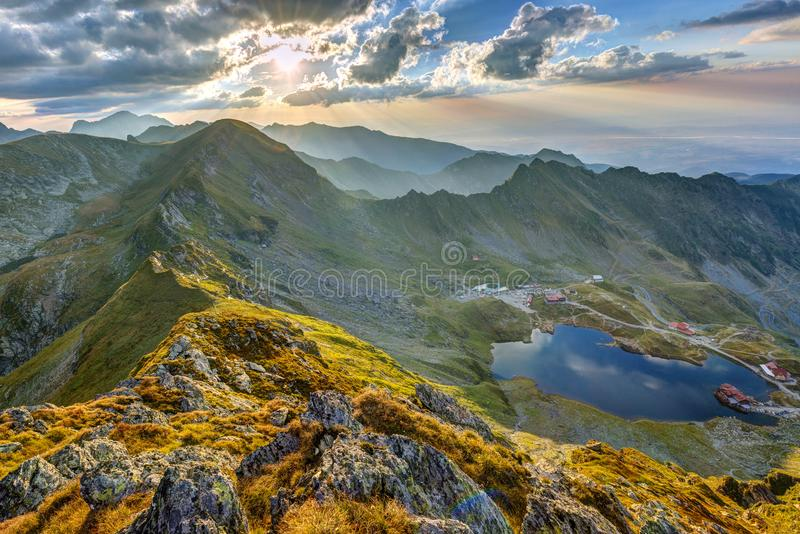 Aerial view of Balea Lake royalty free stock photography