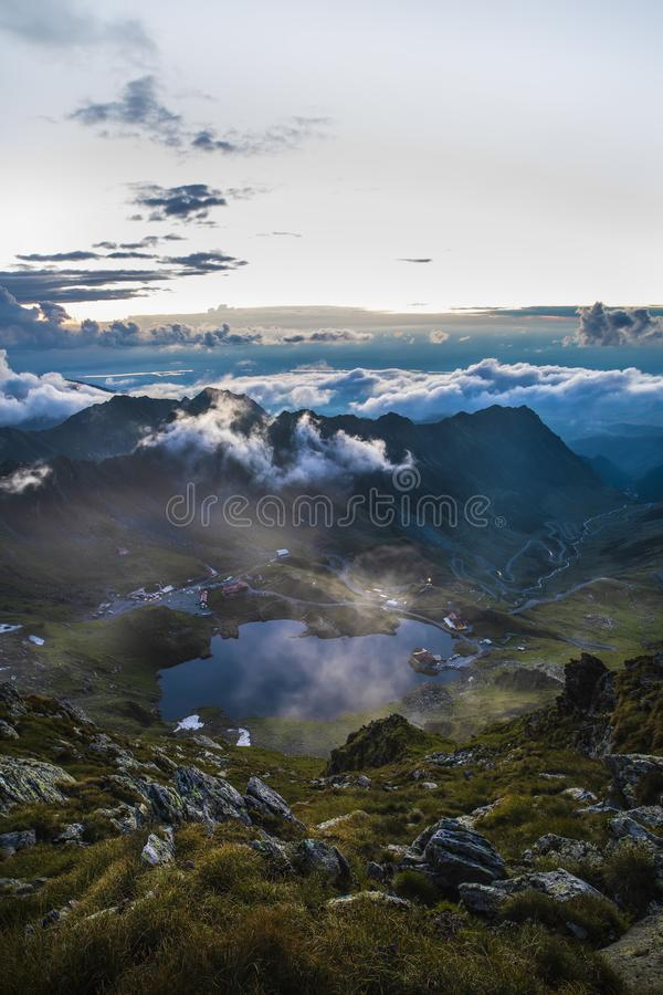 Balea lake in Romania`s Fagaras mountains stock photo