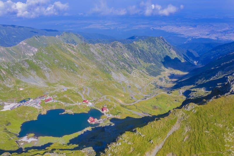 Aerial view of Balea Lake in Romanian Carpathians stock image