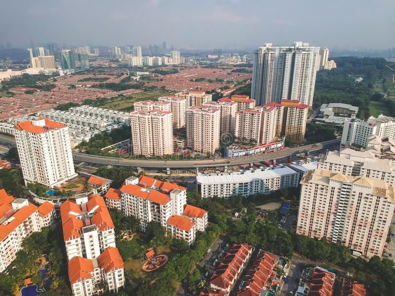 Aerial view of Bandar Utama residential township located within the Damansara subdivisi royalty free stock photo