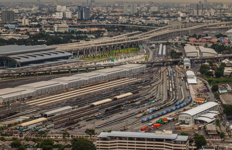 Aerial view of Bang Sue central station. Bangkok, Thailand - Jul, 25, 2020 : Aerial view of Bang Sue central station, the new railway hub transportation royalty free stock photography