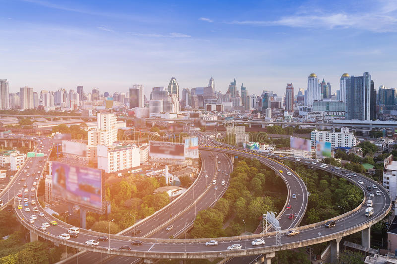 Aerial view, Bangkok city aerial view over highway intersection downtown skyline. Thailand, cityscape background stock image