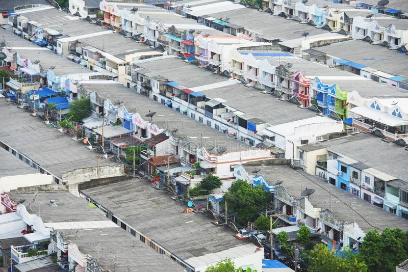 Aerial view of Bangkok City figuring poor houses in slums like district,heavily population and crowded,congested house in big city.  royalty free stock image