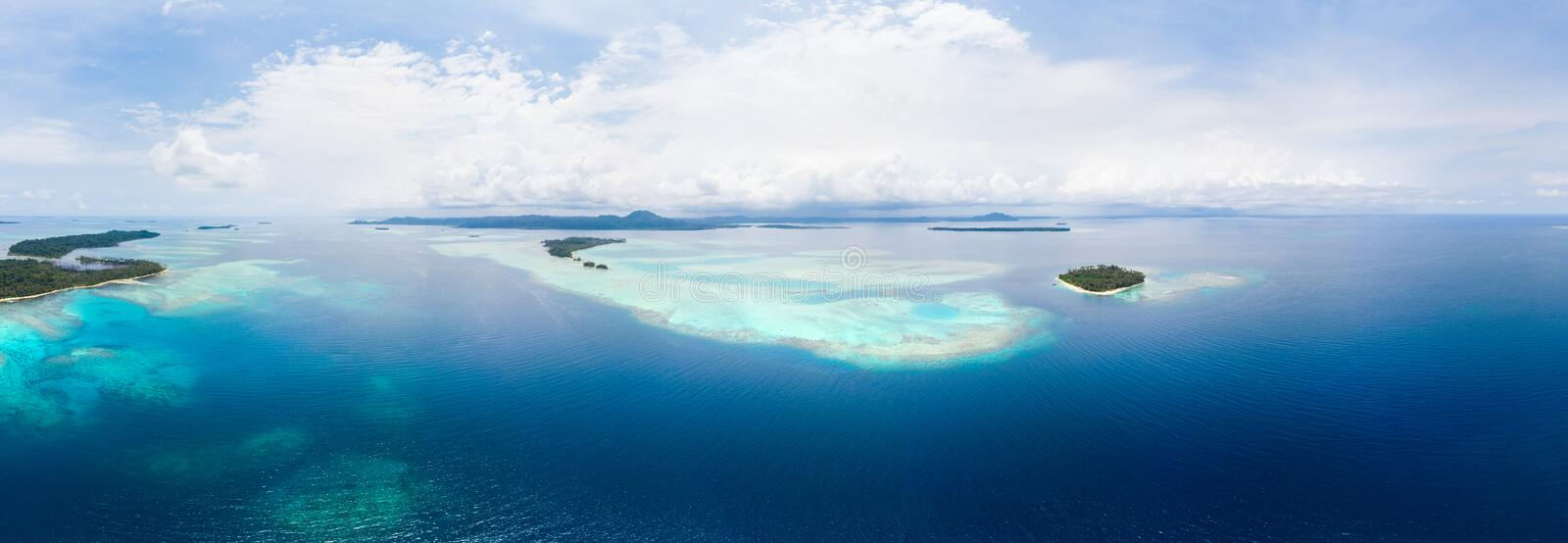 Aerial view Banyak Islands Sumatra tropical archipelago Indonesia, coral reef beach turquoise water. Travel destination, diving stock photos