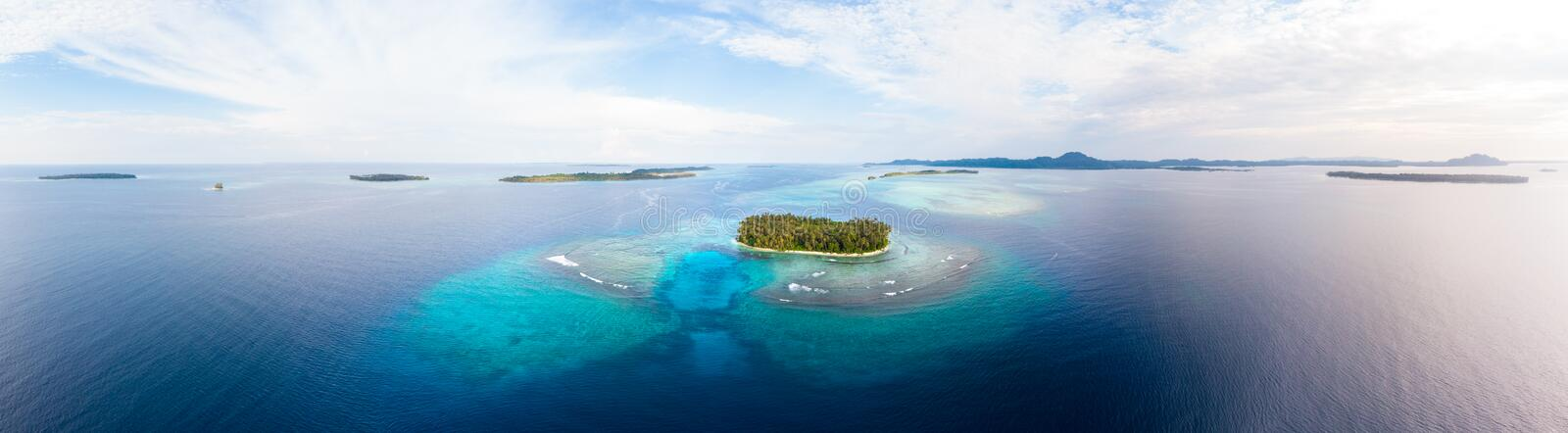 Aerial view Banyak Islands Sumatra tropical archipelago Indonesia, coral reef beach turquoise water. Travel destination, diving stock images