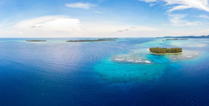 Aerial view Banyak Islands Sumatra tropical archipelago Indonesia, coral reef beach turquoise water. Travel destination, diving stock photography