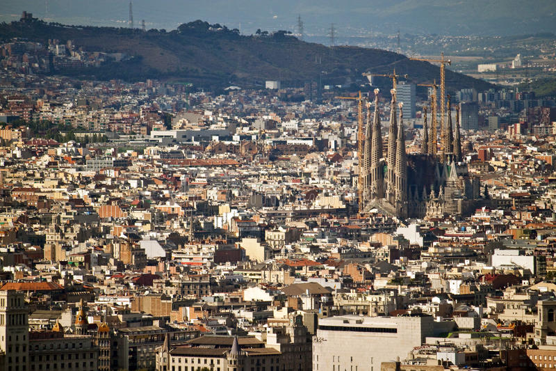 Download Aerial view of Barcelona stock image. Image of sagrada - 16374355