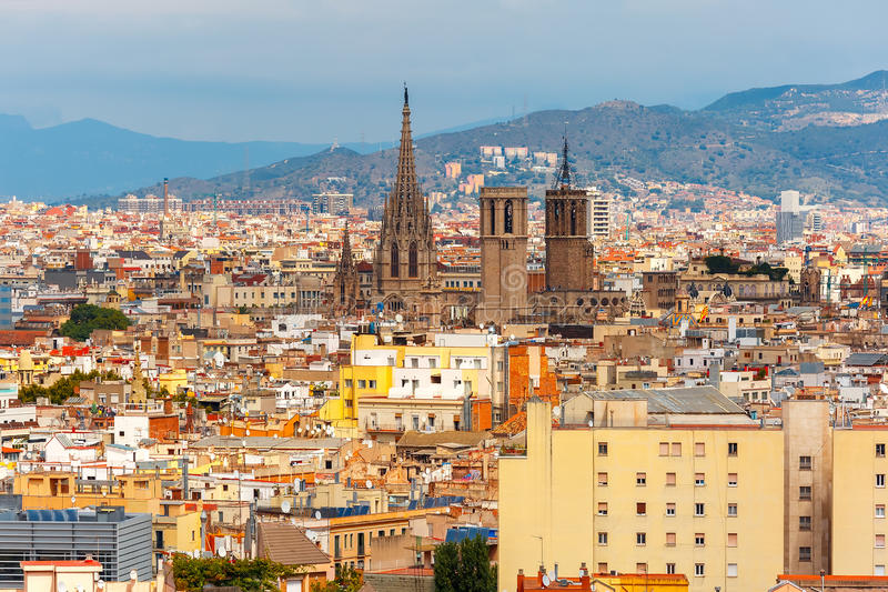 Aerial view of Barcelona, Catalonia, Spain royalty free stock photo