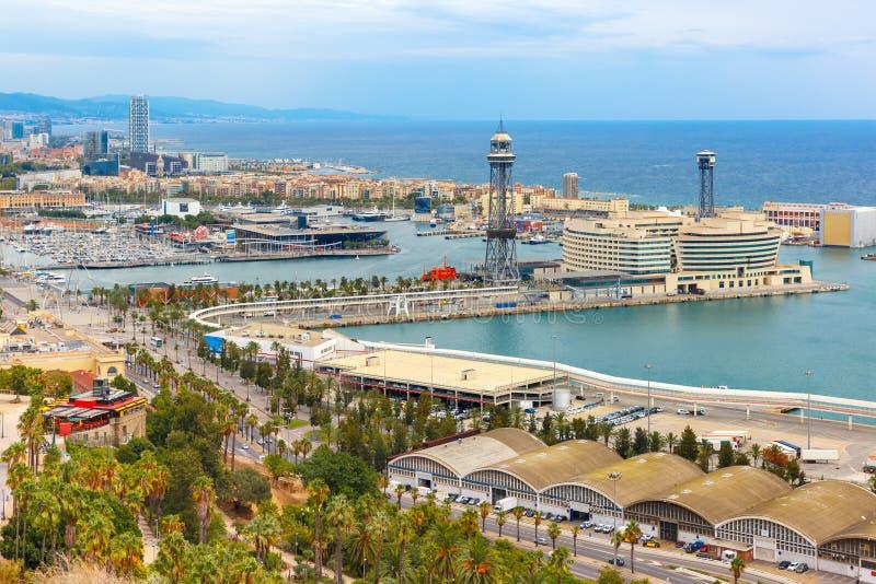 Aerial view Barcelona, Catalonia, Spain stock photos