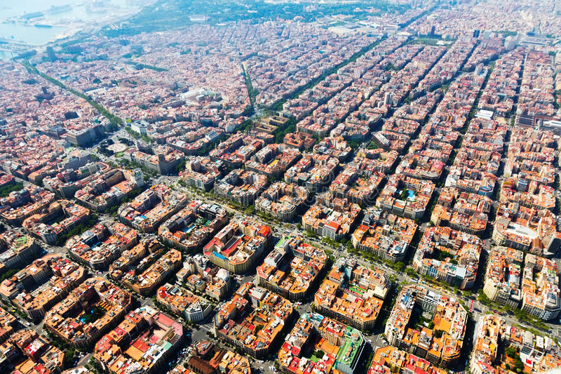 Aerial view of Barcelona, Catalonia stock photography