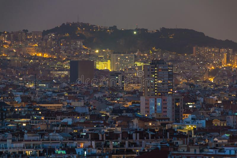 Aerial view of Barcelona city, Spain stock photos