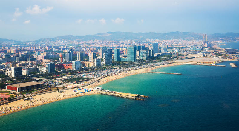 Aerial view of Barcelona from Mediterranean coast stock photography
