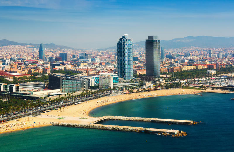 Aerial view of Barcelona from Mediterranean sea stock photo