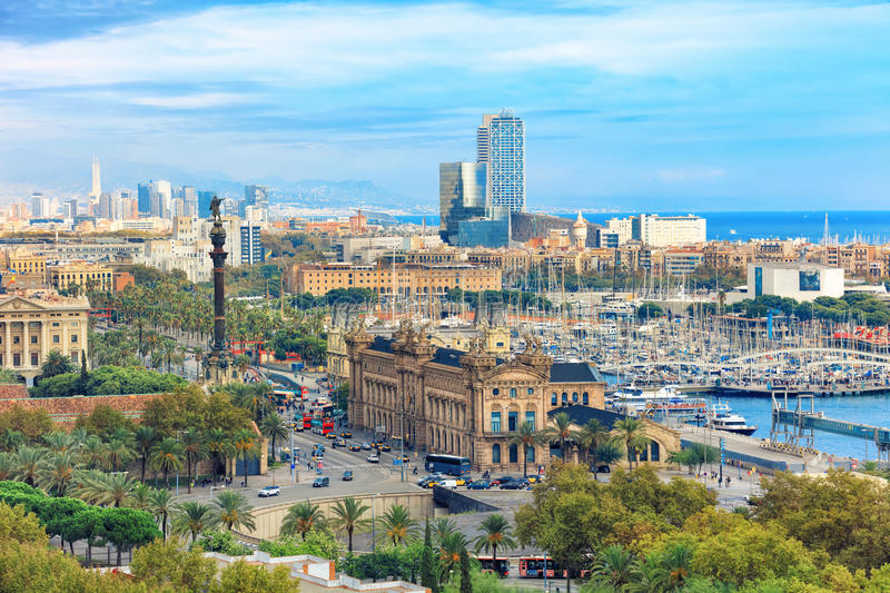 Aerial view of Barcelona stock image