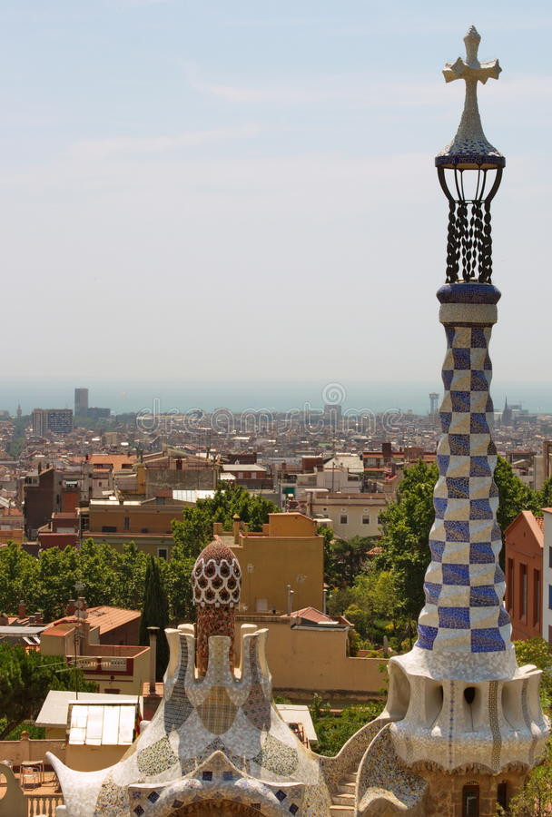 Aerial view of Barcelona Spain from Park Guell. The Park Güell is a public park system composed of gardens and architectonic elements located on Carmel Hill stock photography
