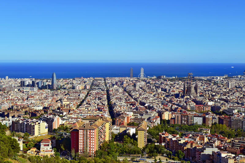 Aerial view of Barcelona, Spain. An aerial view of Barcelona, Spain, seen from the Turo de la Rovira hill royalty free stock photography