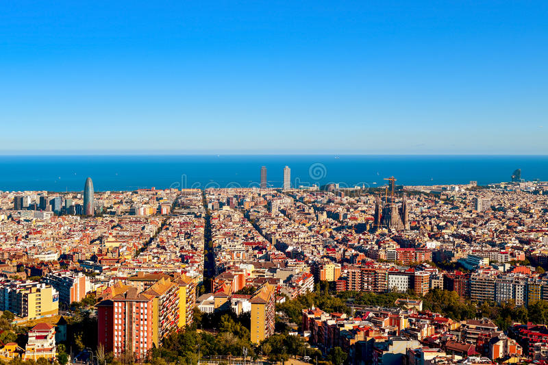 Aerial view of Barcelona, Spain. An aerial view of Barcelona, Spain, seen from the Turo de la Rovira hill stock photography