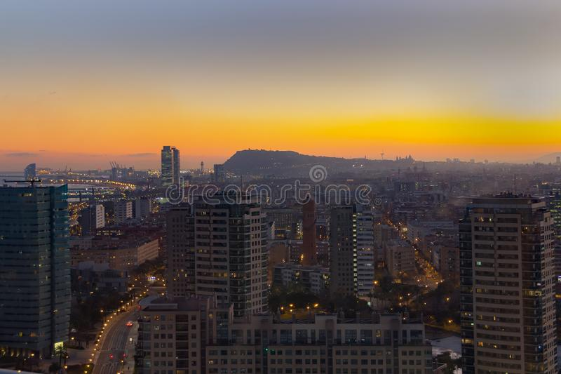 Aerial view Barcelona sunset.tif. Aerial View of a part of the city of Barcelona, in a winter sunset royalty free stock images