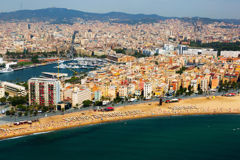 Download Aerial View Of Barceloneta  From Mediterranean.  Barcelona Stock Image - Image: 43556261