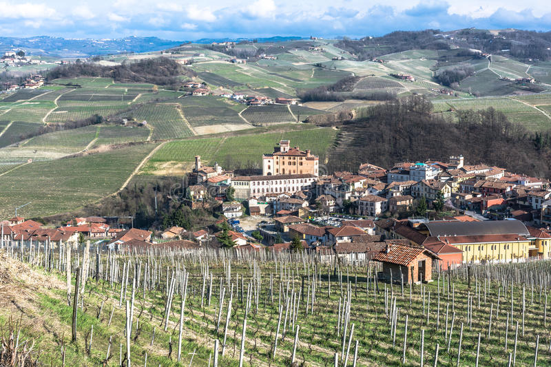 Aerial view of Barolo and its vineyards, Langhe, Italy stock photos