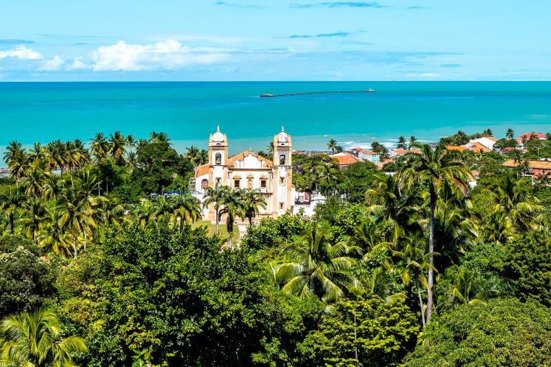Aerial view of the Baroque architecture of Igreja do Carmo Church in Olinda, Pernambuco, Brazil stock image