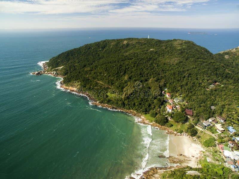 Aerial view Barra da Lagoa Beach in Florianopolis, Brazil. July, 2017. royalty free stock photos