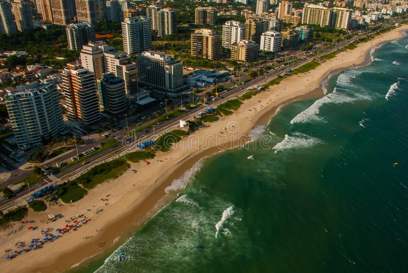 Aerial view of Barra da Tijuca during a helicopter flight over Rio de Janeiro City, Brazil royalty free stock photo