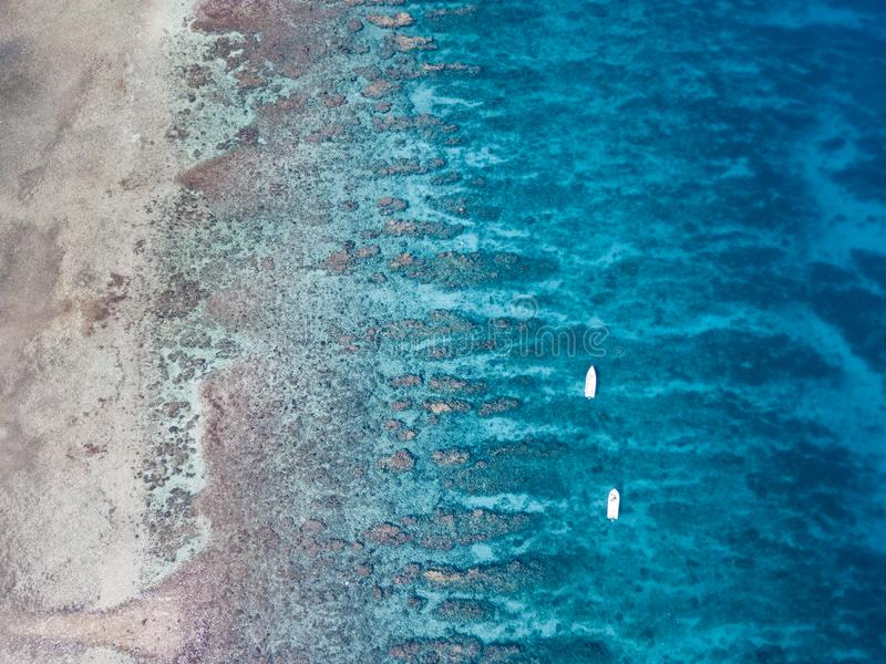 Aerial View of Barrier Reef in Belize royalty free stock photo