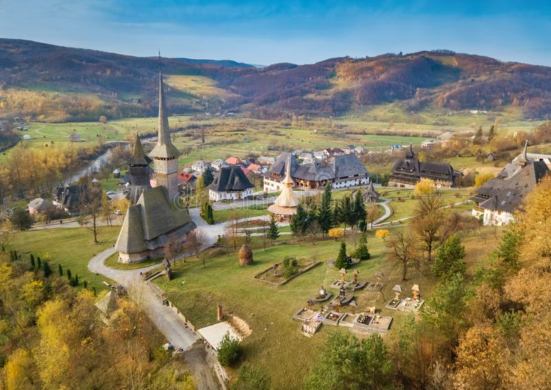 Aerial view of Barsana monastery in Maramures royalty free stock image