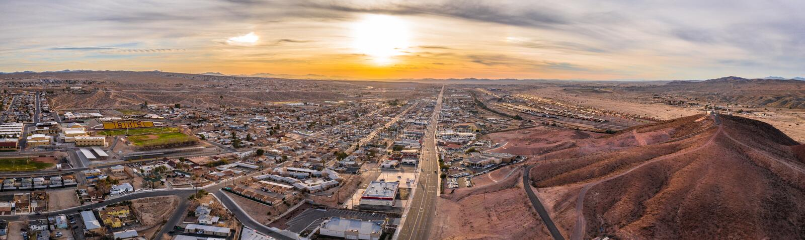 Aerial view of Barstow community a residential city of homes and commercial property community Mojave desert California stock photo