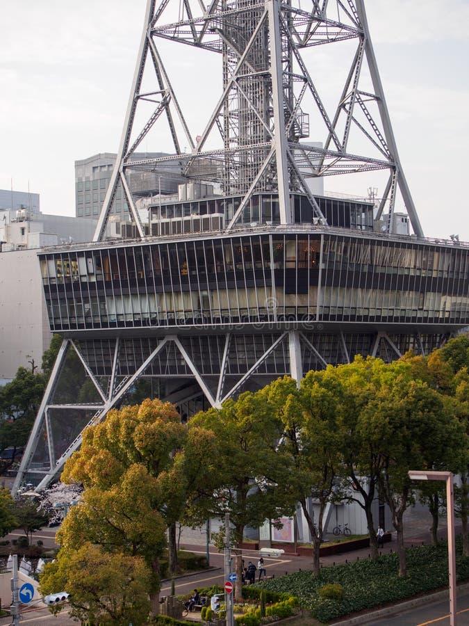 Aerial view of base of Nagoya TV tower and Hisaya Odori Park, Japan stock photo
