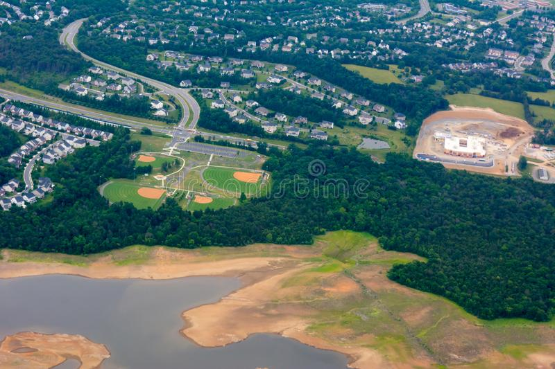 Aerial View of Baseball Fields taken from Flying Airplane. On Blur Background, above, american, athlete, athletic, beautiful, building, city, denver, design royalty free stock photography
