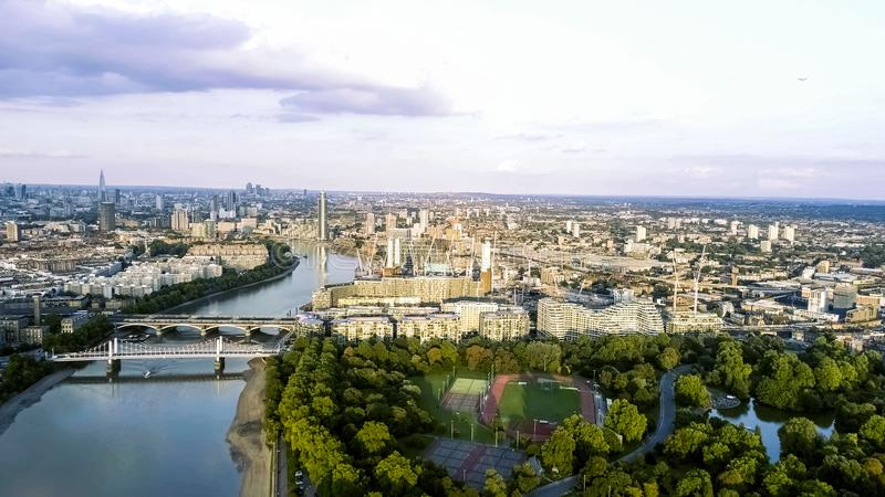 Aerial View of Battersea Power Station and Park in London feat Chelsea Bridge stock images