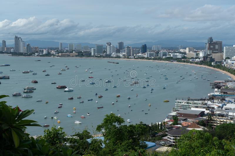 Aerial view of bay of city of Pattaya, Thailand royalty free stock photography