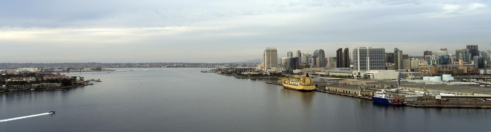 Unique View San Diego California Port Downtown City Skyline. Aerial view of the bay between Coronado and San Diego southern California USA stock photo