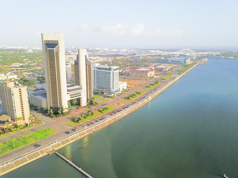 Aerial bay front Corpus Christi skylines and city harbor bridge royalty free stock photography
